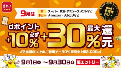 d払いお買い物ラリーdポイント必ず+10%最大+30%還元